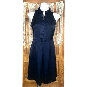 The Limited High Neck Silky Navy Dress